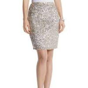 White House Black Market Size 4 Gold Silver Skirt